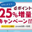 dポイント25%増量キャンペーン(2016年)