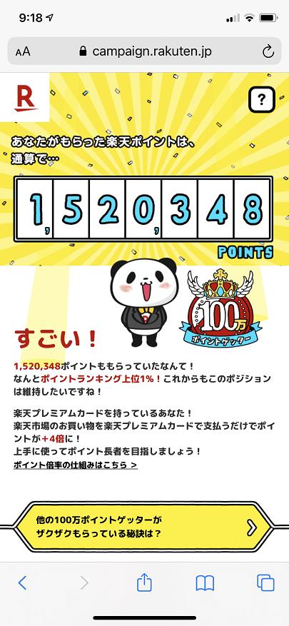楽天ポイントの通算獲得実績(150万突破)